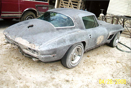 country celebrity's corvette after sandblasting